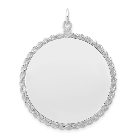 1 1/4in Engravable Round with Rope Disc Charm - Sterling Silver
