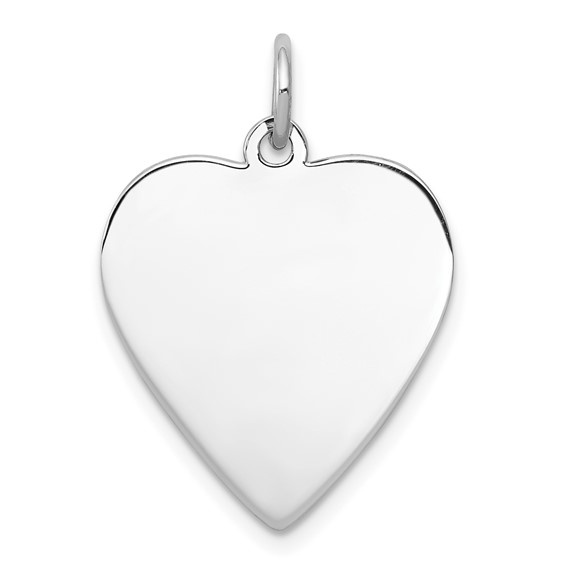 Sterling Silver 11/16in Engravable Heart Disc Charm