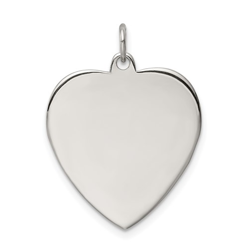 Sterling Silver 7/8in Smooth Engravable Heart Charm