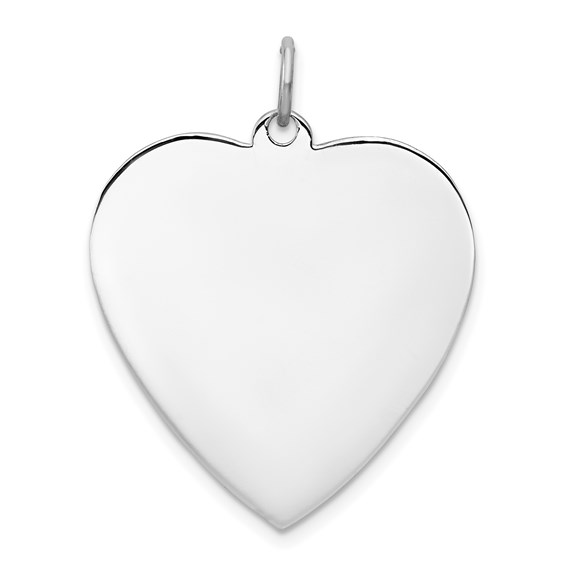 Sterling Silver Engravable Heart Pendant 1in