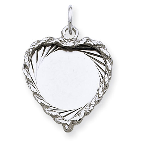 Sterling Silver 5/8in Engravable Heart Charm with Braided Edge