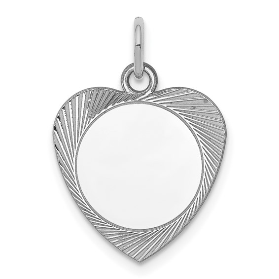 Sterling Silver 5/8in Engravable Heart Disc Charm