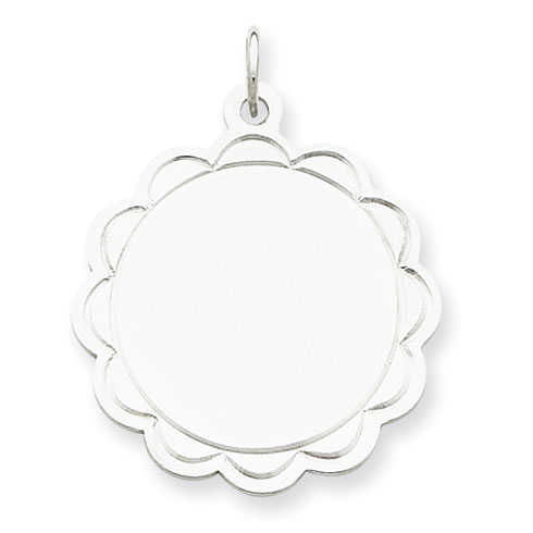 Sterling Silver 7/8in Engravable Charm with Scallop Edges