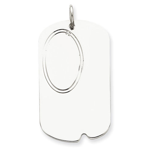 Sterling Silver 1 3/8in Engravable Dog Tag