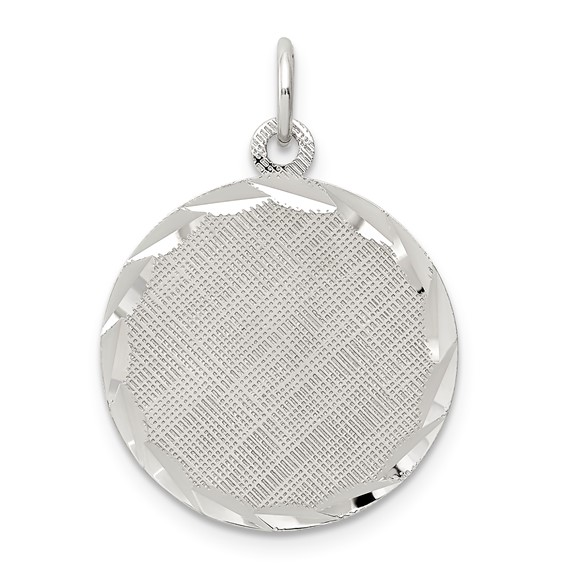 Sterling Silver 11/16in Engravable Round Patterned Charm