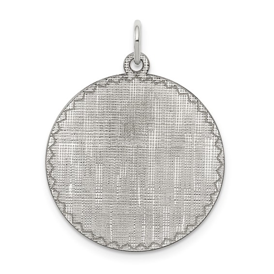 Sterling Silver 7/8in Engravable Round Patterned Charm