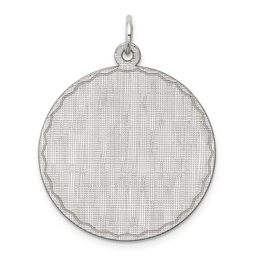 Sterling Silver Engravable Round Patterned Disc Pendant 1in