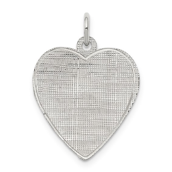 Sterling Silver 5/8in Heart Patterned Charm