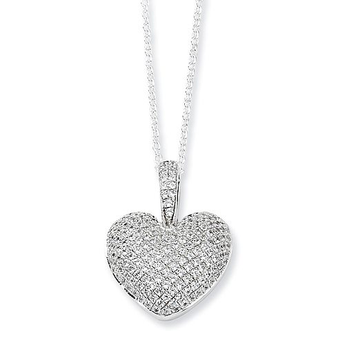 Sterling Silver & CZ Polished Heart 18in Necklace