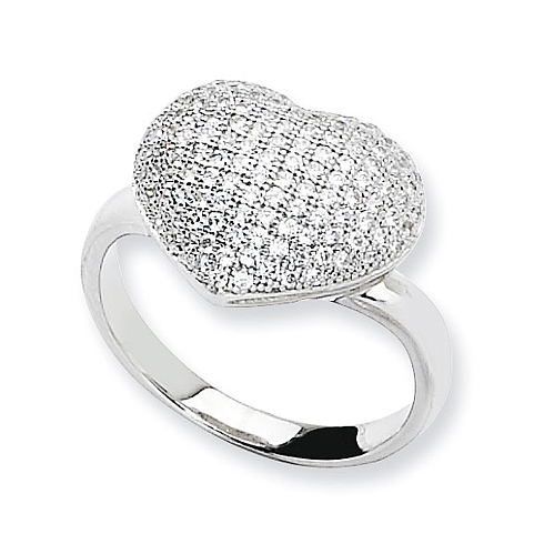 Sterling Silver & CZ Polished Heart Ring