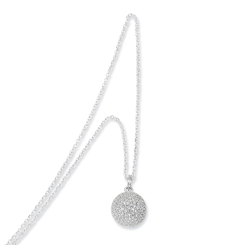 Sterling Silver & CZ Polished Circle Necklace