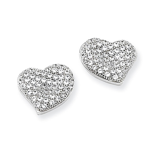 Sterling Silver & CZ Polished Heart Post Earrings
