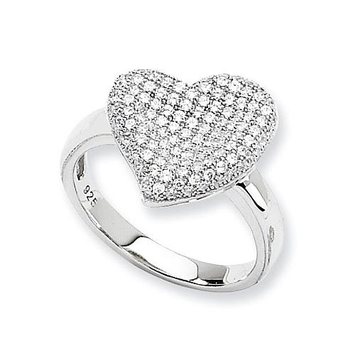 Sterling Silver & CZ Fancy Polished Heart Ring