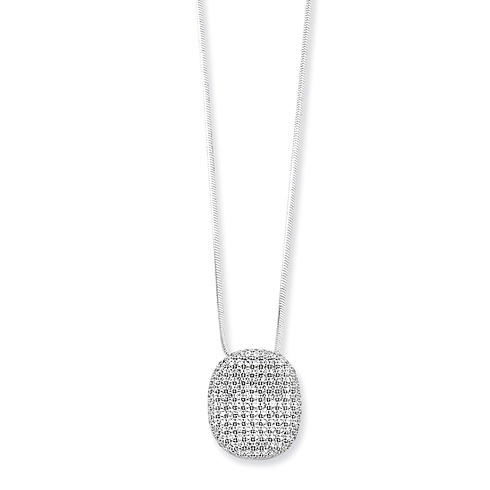 Sterling Silver & CZ Polished Necklace