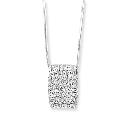 Sterling Silver & CZ Polished Fancy Necklace