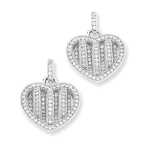 Sterling Silver & CZ Polished Heart Dangle Post Earrings