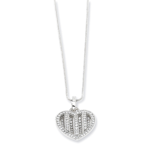 Sterling Silver & CZ Polished Heart Necklace