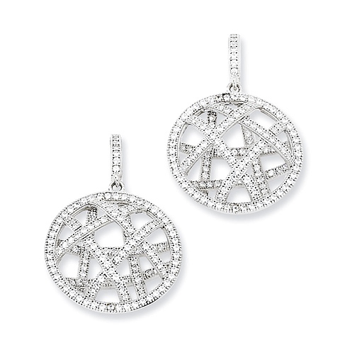 Sterling Silver & CZ Fancy Polished Dangle Post Earrings