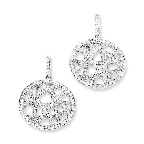 Sterling Silver & CZ Fancy Polished Dangle Post Earrings