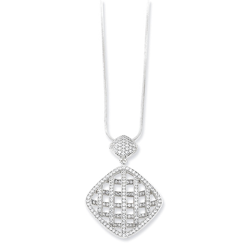Sterling Silver & CZ Fancy Polished Necklace