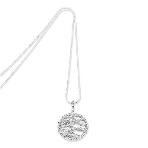 Sterling Silver & CZ Polished Fancy Round Necklace