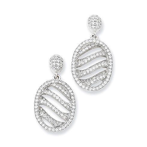 Sterling Silver & CZ Polished Oval Post Earrings