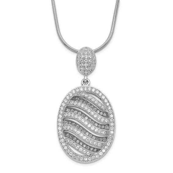 Sterling Silver & CZ Fancy Polished Oval Necklace