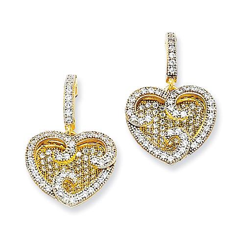 Sterling Silver & Vermeil CZ Fancy Heart Earrings