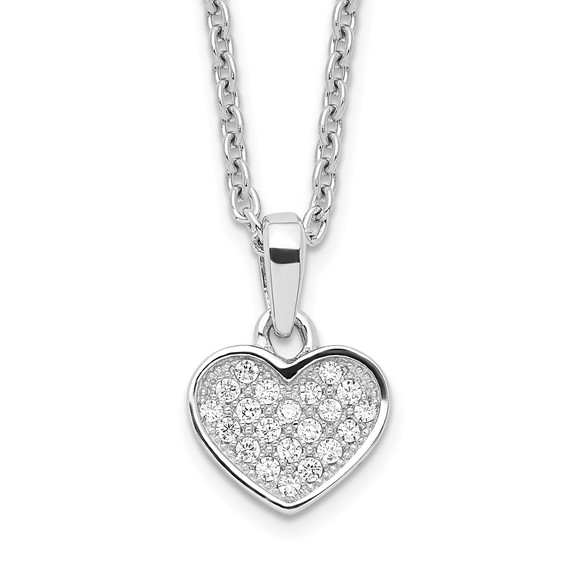Sterling Silver CZ Micro Pave Tiny Heart Necklace