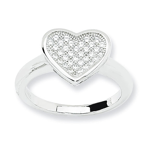 Sterling Silver & CZ Fancy Heart Ring