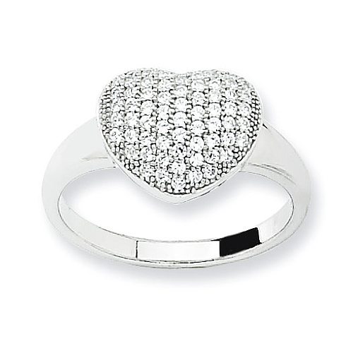 Sterling Silver Cubic Zirconia Micro Pave Heart Ring