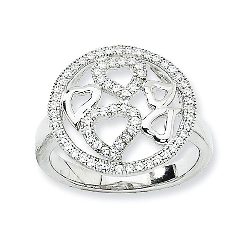 Sterling Silver Cubic Zirconia Hearts Ring