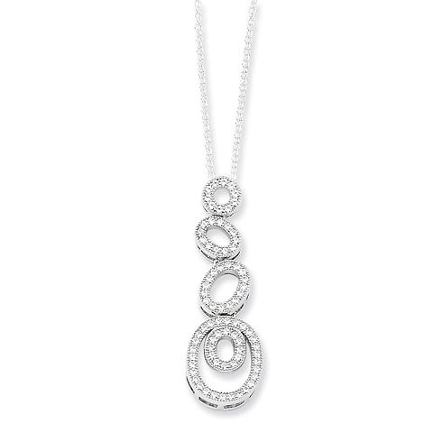 Sterling Silver & CZ Polished Fancy Oval Necklace