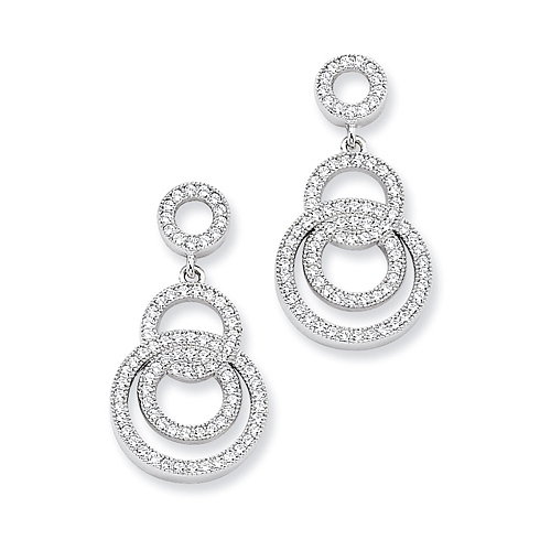 Sterling Silver & CZ Fancy Circle Dangle Post Earrings