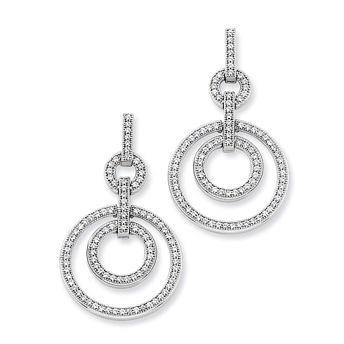 Sterling Silver & CZ Circles Dangle Earrings