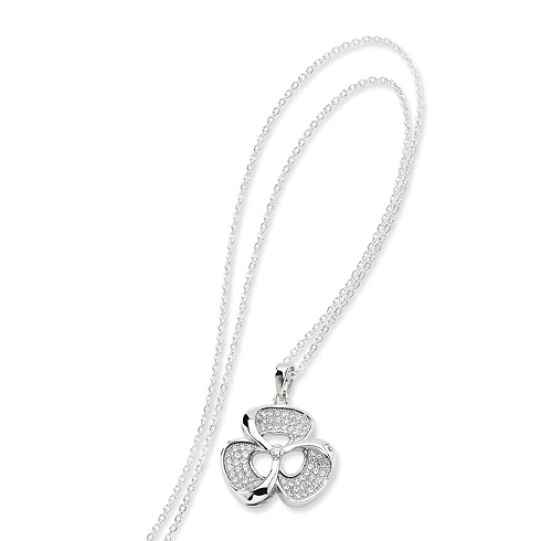 Sterling Silver & CZ Polished Fancy Necklace