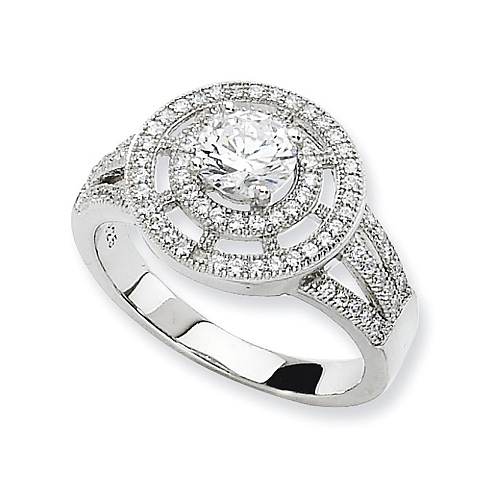 Sterling Silver & CZ Round Polished Fancy Ring