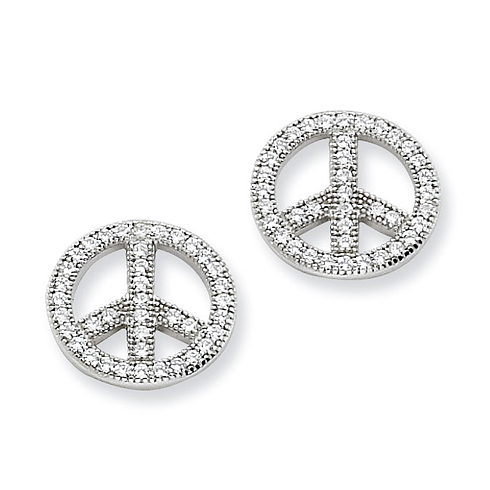 Sterling Silver & CZ Polished Peace Earrings
