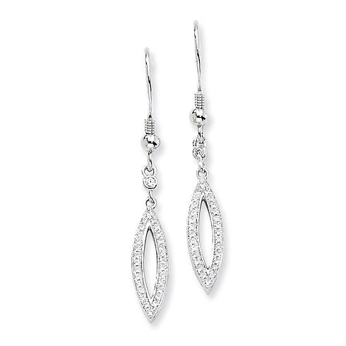 Sterling Silver & CZ Fancy Dangle Earrings