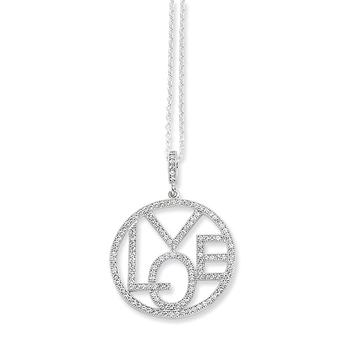 Sterling Silver & CZ Round Love Necklace