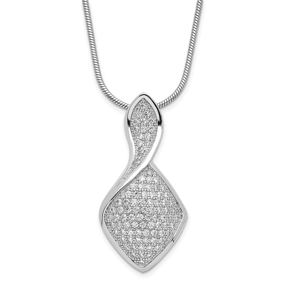 Sterling Silver & CZ Polished 18in Necklace