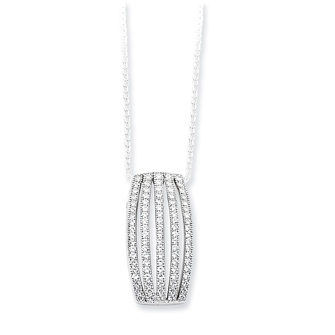 Sterling Silver & CZ Polished Fancy 18in Necklace