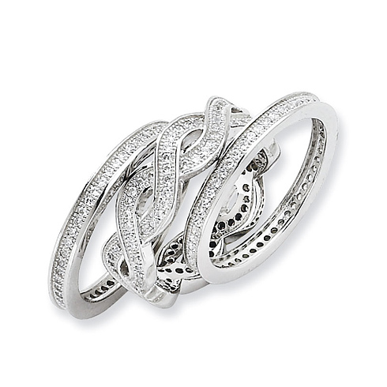 Sterling Silver & CZ 3 Piece Fancy Ring Set