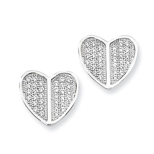 Sterling Silver & CZ Heart Post Earrings