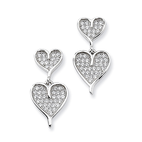 Sterling Silver & CZ Dangle Heart Post Earrings