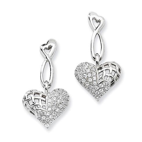 Sterling Silver & CZ Dangle Heart Post Earrings