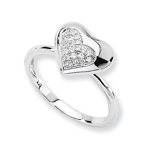 Sterling Silver & CZ Fancy Heart Ring