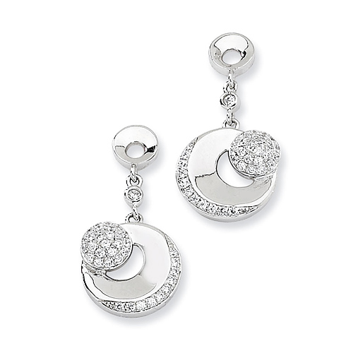 Sterling Silver & CZ Fancy Dangle Post Earrings