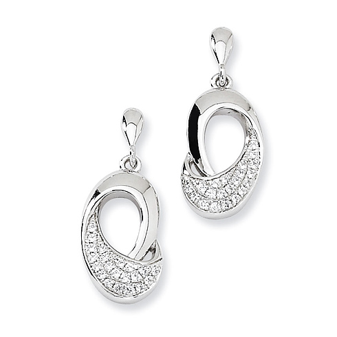 Sterling Silver & CZ Fancy Dangle Post Earrings