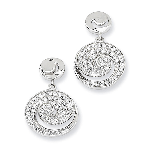 Sterling Silver & CZ Swirl Dangle Post Earrings